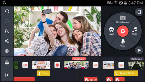 Les captures d'écran du programme KineMaster: Video Editor pour le portable ou la tablette Android.