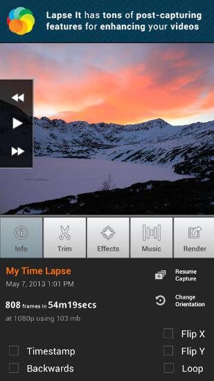 Screenshots des Programms Lapse It für Android-Smartphones oder Tablets.