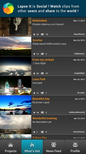 Screenshots des Programms Lapse it: Time lapse camera für Android-Smartphones oder Tablets.