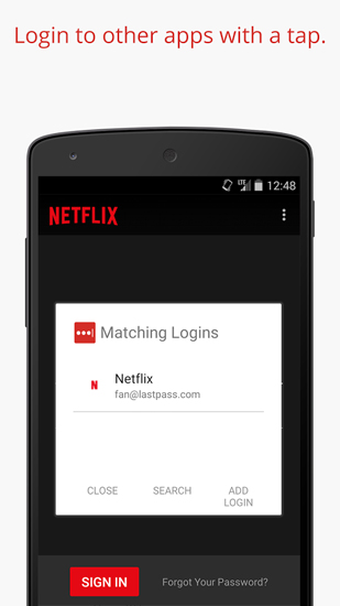 Les captures d'écran du programme LastPass: Password Manager pour le portable ou la tablette Android.