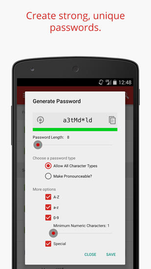Screenshots of LastPass: Password Manager program for Android phone or tablet.