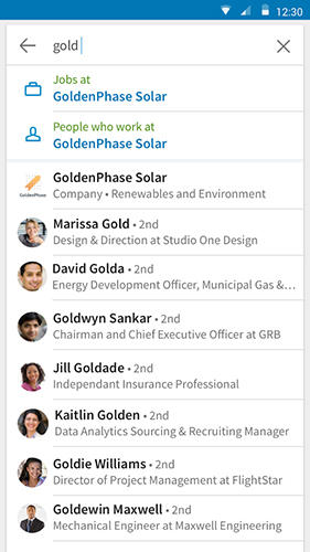 Screenshots of LinkedIn program for Android phone or tablet.