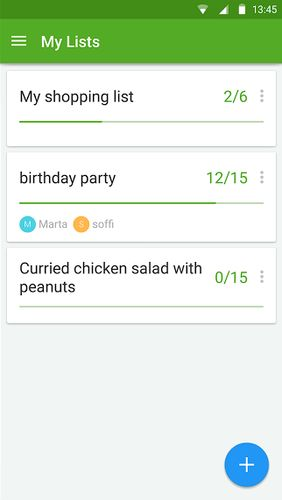 Screenshots of Listonic: Grocery shopping list program for Android phone or tablet.