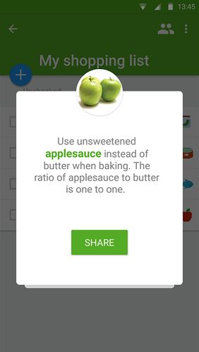 Les captures d'écran du programme Listonic: Grocery shopping list pour le portable ou la tablette Android.