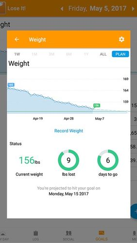 Capturas de tela do programa Lose it! - Calorie counter em celular ou tablete Android.