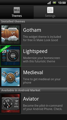 Screenshots des Programms Make look good für Android-Smartphones oder Tablets.