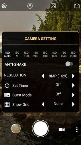 Screenshots des Programms Manual camera: DSLR camera HD professional für Android-Smartphones oder Tablets.