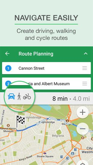 Screenshots des Programms Map Navigation für Android-Smartphones oder Tablets.