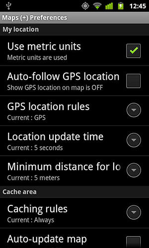 Screenshots of Maps on free program for Android phone or tablet.