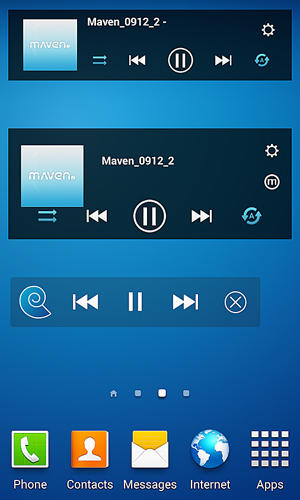 Screenshots des Programms Maven music player: 3D sound für Android-Smartphones oder Tablets.