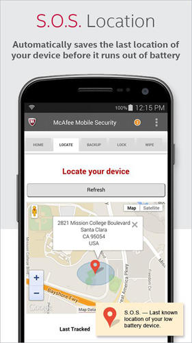 Capturas de tela do programa McAfee: Mobile security em celular ou tablete Android.