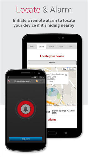 Les captures d'écran du programme McAfee: Mobile security pour le portable ou la tablette Android.