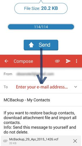Screenshots des Programms MCBackup - My Contacts Backup für Android-Smartphones oder Tablets.