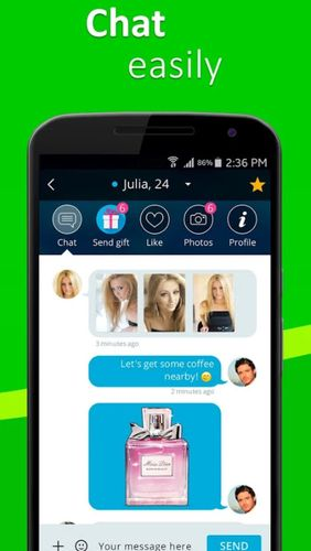 Les captures d'écran du programme Meet4U - chat, love, singles pour le portable ou la tablette Android.