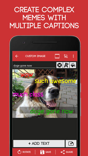 Screenshots of Meme Generator program for Android phone or tablet.