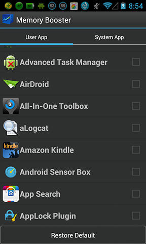 Capturas de tela do programa Memory booster em celular ou tablete Android.