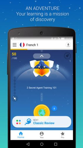 Les captures d'écran du programme Memrise: Learn a foreign language pour le portable ou la tablette Android.