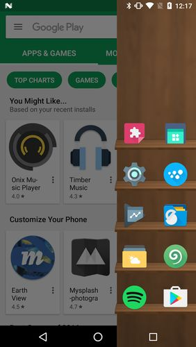 Screenshots of Arena launcher program for Android phone or tablet.