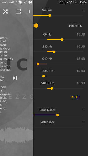 Les captures d'écran du programme Mezzo: Music Player pour le portable ou la tablette Android.
