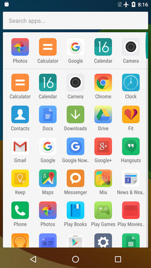 Screenshots of Mi: Launcher program for Android phone or tablet.