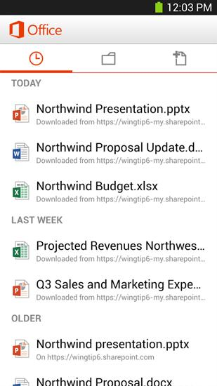 Capturas de pantalla del programa Microsoft Office Mobile para teléfono o tableta Android.