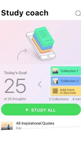 的Android手机或平板电脑MindZip: Study, learn & remember everything程序截图。