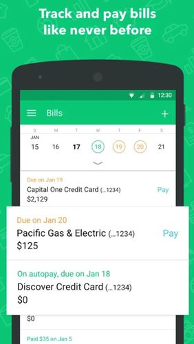 Screenshots of Mint: Budget, bills, finance program for Android phone or tablet.
