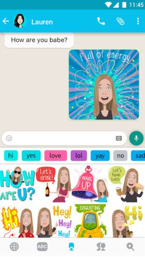 Screenshots des Programms Mirror emoji keyboard für Android-Smartphones oder Tablets.