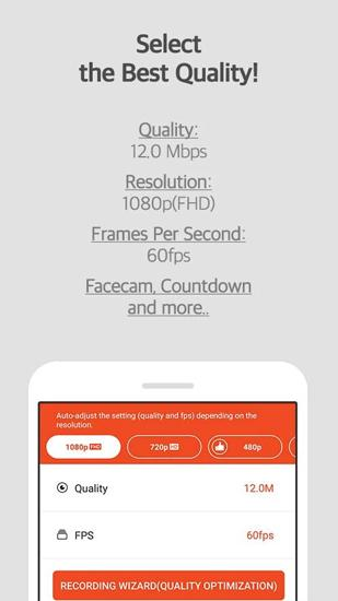 Screenshots of Mobizen: Screen Recorder program for Android phone or tablet.