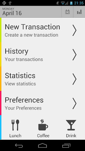 Screenshots of Money Tab program for Android phone or tablet.
