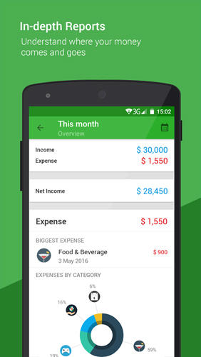 Les captures d'écran du programme Money Lover: Money Manager pour le portable ou la tablette Android.