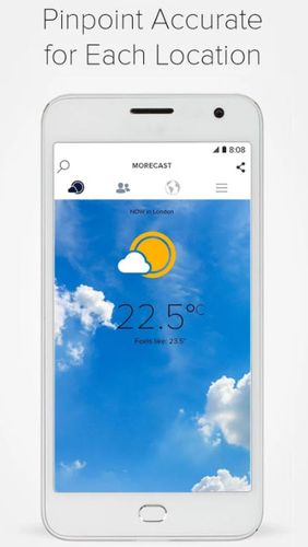 Screenshots des Programms Morecast - Weather forecast with radar & widget für Android-Smartphones oder Tablets.