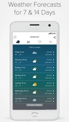 的Android手机或平板电脑Morecast - Weather forecast with radar & widget程序截图。