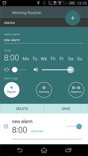 Les captures d'écran du programme Morning routine: Alarm clock pour le portable ou la tablette Android.