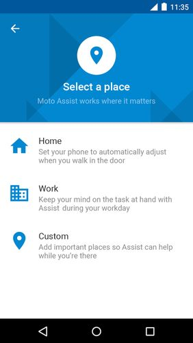 Screenshots of Moto program for Android phone or tablet.