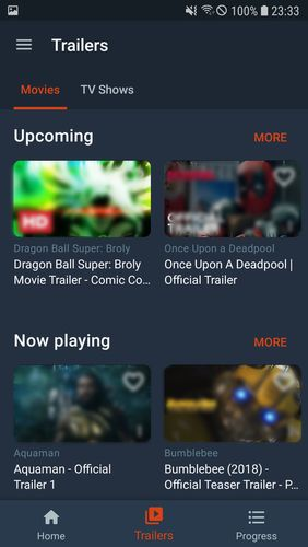 Capturas de tela do programa Moviebase em celular ou tablete Android.