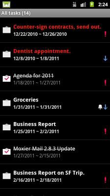Screenshots of Moxier mail program for Android phone or tablet.