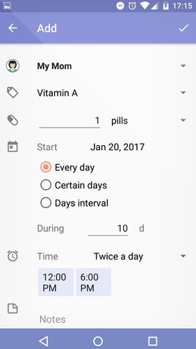 Screenshots des Programms Mr. Pillster: Pill box & pill reminder tracker für Android-Smartphones oder Tablets.