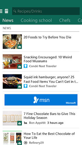 Screenshots of MSN Food: Recipes program for Android phone or tablet.
