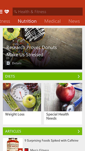 Msn health and fitness app for Android, download programs for phones and tablets for free.