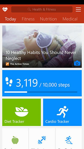 Screenshots of Msn health and fitness program for Android phone or tablet.