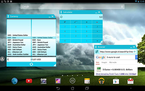 Screenshots des Programms Multitasking für Android-Smartphones oder Tablets.