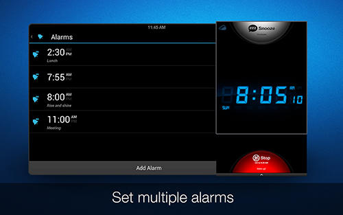 Screenshots of My alarm clock program for Android phone or tablet.