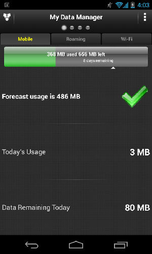 Screenshots of My data manager program for Android phone or tablet.