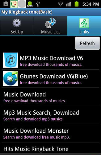 Screenshots of My ringbacktone: For my ears program for Android phone or tablet.