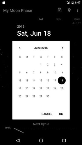 Capturas de pantalla del programa My moon phase - Lunar calendar & Full moon phases para teléfono o tableta Android.