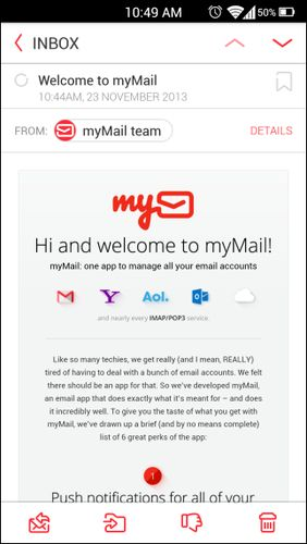 Screenshots of myMail – Email program for Android phone or tablet.