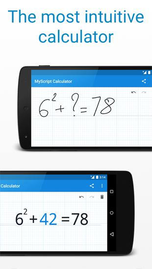 Capturas de tela do programa MyScript Calculator em celular ou tablete Android.