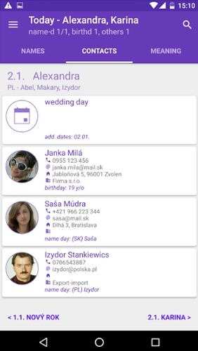 Screenshots of Name days program for Android phone or tablet.