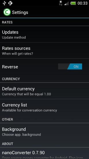 Screenshots of Nano Converter program for Android phone or tablet.